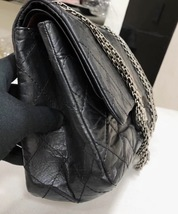 Auth Chanel Black 2.55 Reissue Quilted Age Calfskin 227 Jumbo Double Flap Bag  image 5
