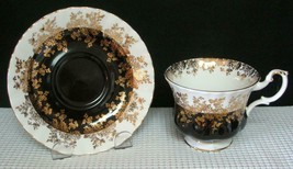 Lovely TEA CUP & SAUCER by ROYAL ALBERT  BLACK & GOLD REGAL SERIES China... - $20.60