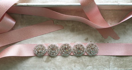Handmade Blush Bridal Sash, Wedding Accessories, Rhinestone Sash, 2017 Wedding image 4