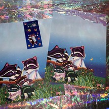 Lisa Frank Stationery RACCOON Racoon Family 2 Sheets One Full Sticker Mod image 1