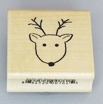 Reindeer Face and Meowy Christmouse! Rubber Mounted on Wood Stamps, Set of 2 image 1
