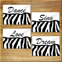 ZEBRA Print Wall Art Decor Dance Sing Dream Love Quotes Girl Bedroom Ins... - $13.99