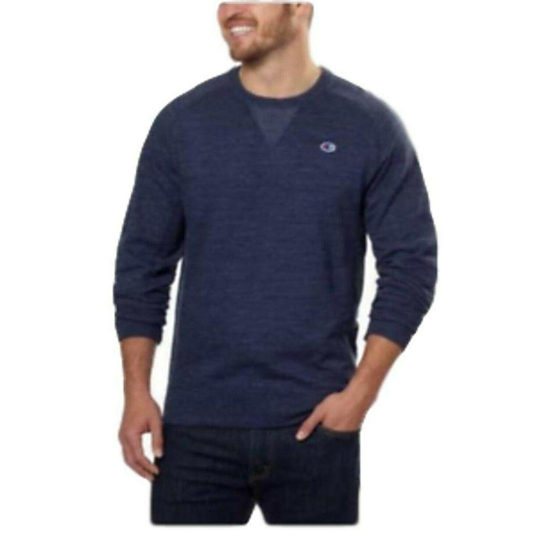 Champion Men's Textured French Terry Crew Sweatshirt XL Navy
