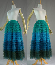 Multi-Color Layered Tulle Skirt High Waisted Tiered Tulle Skirt Outfit image 6