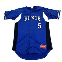 VINTAGE Rawlings Dixie Baseball Jersey Size 42 Blue Long Tail Stitched T... - $36.83