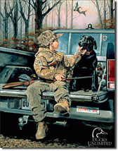Ducks Unlimited Forever Friends Little Boy and Retriever Dog Nature Metal Sign - $18.95