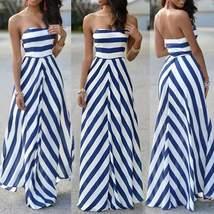 Blue and White Stripe Chiffon Strapless Maxi Dress - $21.63