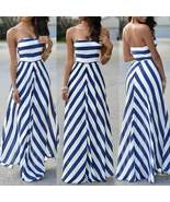 Blue and White Stripe Chiffon Strapless Maxi Dress - $21.63