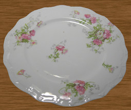 12 JPL. Jean Pouyat Limoges France Pink Flowers Luncheon Plates Scallope... - $55.00