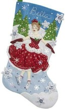 Bucilla A Christmas Skate Ice Skating Skater Snow Sport Felt Stocking Kit 86979E - $38.95