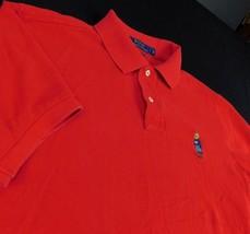 Polo Ralph Lauren Custom Fit Red Golf Polo Shirt Bear Logo Sz L - $44.99