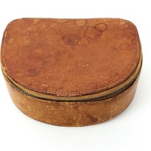 Norelco Brown Leather Zippered Box Vintage Old Worn Stained Jewelry Razo... - $11.64