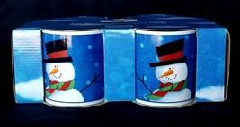 NEW 4 Sakura Snowy Day Snowman Stoneware Coffee Mugs Microwave & Dishwasher Safe - $14.84
