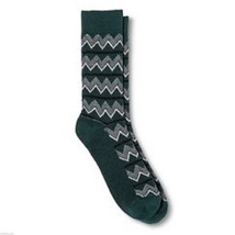 Green Cress NEW Mens Novelty Crew Socks 6 12 Mossimo Ripple Zig Zag Chevron - $12.00