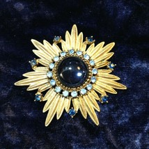 Vintage Starburst Brooch Jelly Belly 1950's/60's Turquoise and Sapphire ... - $12.62
