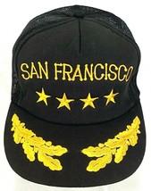 Vtg San Francisco Trucker Hat-Mesh-Snapback-Black-Leaf Bill-4 Star - $28.04