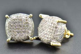 Round Cut White Diamond Stud Earrings For Women's 14k Yellow Gold FN 925 Silver - $121.50