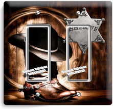 Country Cowboy Boots Hat Lasso Sheriff Star 2 Gang Gfci Light Switch Plate Decor - $11.69