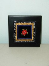 Turtle Two Framed Tile Trivet Robin Bowman Designs Fabric Collage 12354 - $24.74