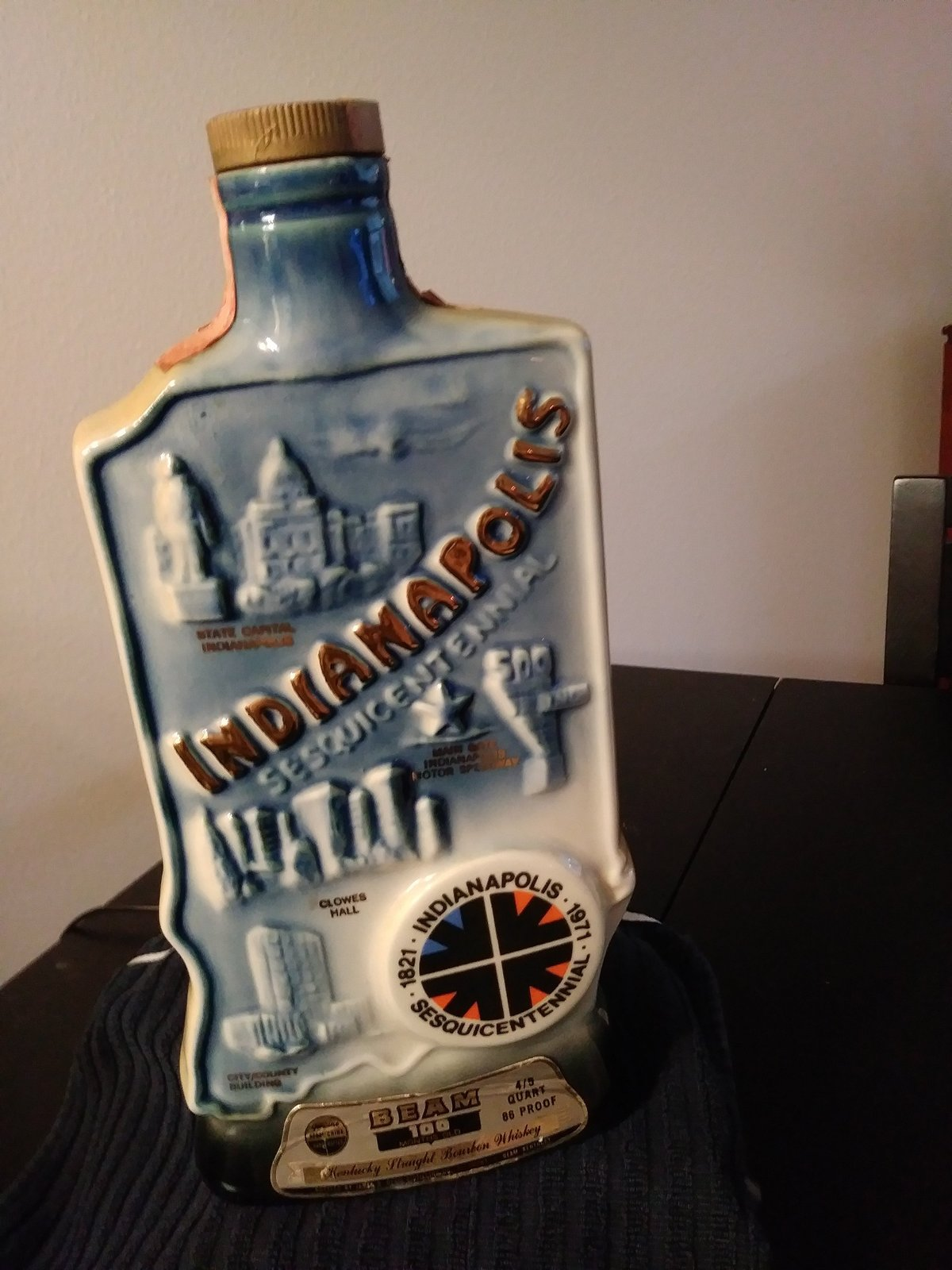 Vintage  Indianapolis Sesquicentennial 1971 Jim Beam Whisky Bottle Decanter