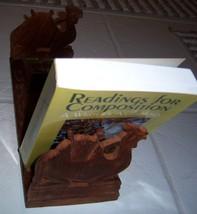 INDIA SHEESHAM Wood Carved Book End Recipe Holder Folding Camel Vintage - $34.93