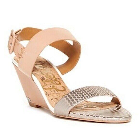 Sam Edelman Sutton Open Toe Wedge Heel Sandal Shoes 8.5 Tan Silver Snake Print - $25.04