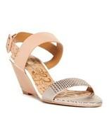 Sam Edelman Sutton Open Toe Wedge Heel Sandal Shoes 8.5 Tan Silver Snake... - $25.04