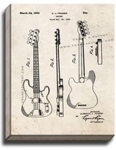 Clarence Fender Precision Bass Patent Print Old Look on Canvas - $39.95+
