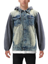 Men's Hooded Button Up Faded Denim With Jersey Sleeves Jean Trucker Jacket image 2