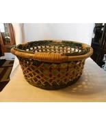 "Vintage Round Wicker Basket, Green and Tan Lattice Design 14"" Diameter - $37.13"