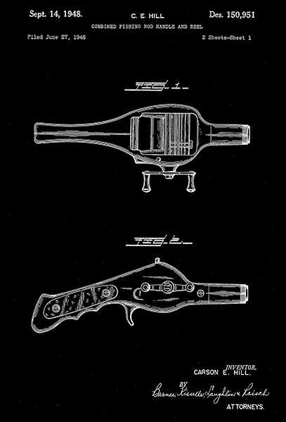 Primary image for 1948 - Fishing Rod Handle And Reel - C. E. Hill - Patent Art Poster