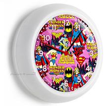 Batgirl Super Hero Girl Wonder Woman Wall Clock Pink Bedroom Home Room Decor - $21.05