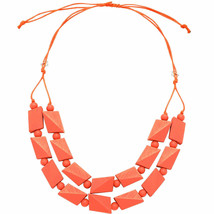 Pastel pink bead necklace made from a lightweight wood jewellery design - $23.07