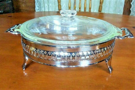 Vintage Fire King 1.5 Qt. Round Covered Casserole & Stainless Footed Cra... - $30.36