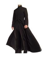 Matrix Neo Cotton Coat Keanu Reeves Black Cotton Trench Gothic Jacket - $123.00+
