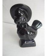 Vintage 1960's Chicken Statue Figurine Black Brown Glazed Ceramic Easter... - $7.87