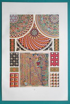 MIDDLE AGES Mosaics Enamelled Glass & Marble - A. RACINET Color Litho Print - $25.20