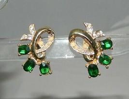 VTG Gold Tone Faux Pearl Green Rhinestone Screwback Earrings - $19.80