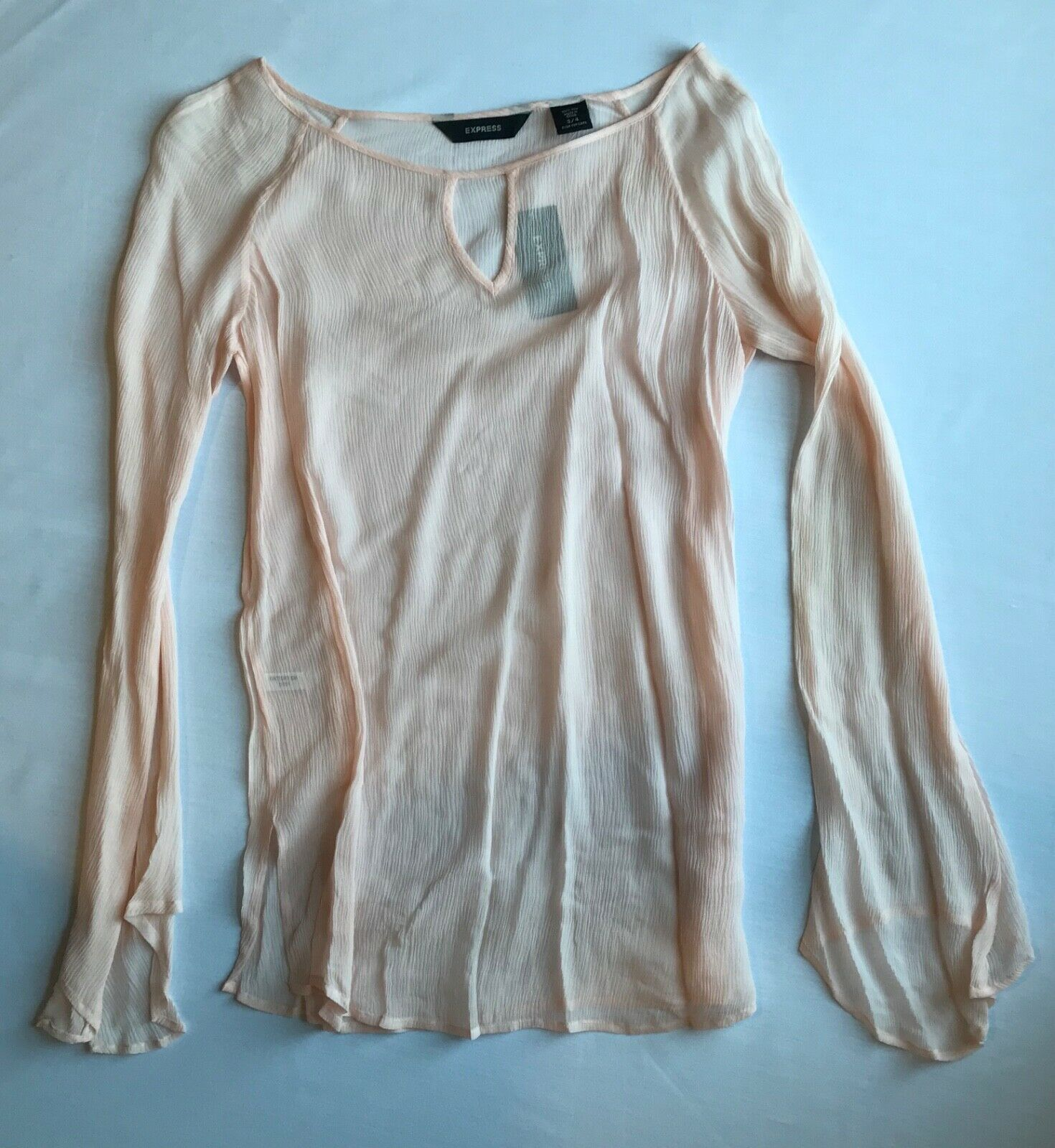Primary image for Express Silk Boat Neck Top in Light Pink w/ Bell Sleeves