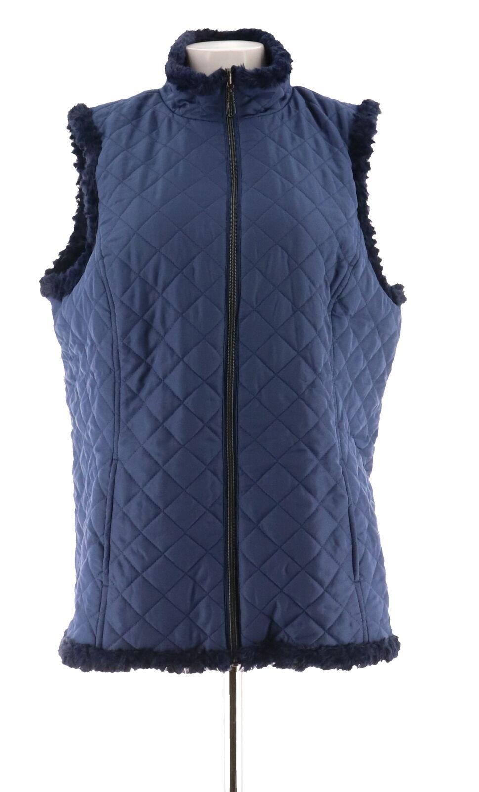 Denim & Co Reversible Zip Front Textured Quilted Vest Dark Indigo M NEW A282681