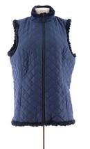 Denim & Co Reversible Zip Front Textured Quilted Vest Dark Indigo M NEW ... - $16.81
