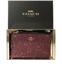 Coach F39132 Boxed Small Wristlet With Heart Glitter Light Gold/Raspber... - $66.93