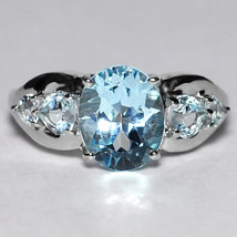 Natural Blue Topaz 5 Stone Promise Band Ring Womens 925 Sterling Silver ... - $59.00