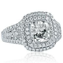 2.59 TCW Cushion Cut Trapezoid Side Diamond Engagement Ring 18k White Gold - $6,434.01