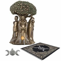 Sarimoire Altar Tarot Cloth Goddess Statue Tree of Life 5.5 in Cold Cast... - $36.90