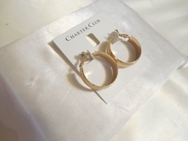 "Charter Club 1-1/8 "" Medium Gold-Tone Wide Textured Hoop Earrings B1022 - $11.51"