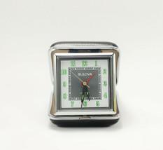 Bulova QUARTZ Travel Alarm Clock Black & Silver Metal Clam Shell Case - $79.95