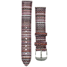 Michele 16mm Berry Stripe Genuine Leather Strap MS16AA430844 Deco 16 Lilou - $48.19