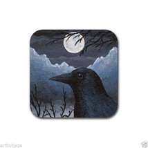 Rubber Coasters set of 4, from art painting Bird 58 crow raven by L.Dumas - $10.99