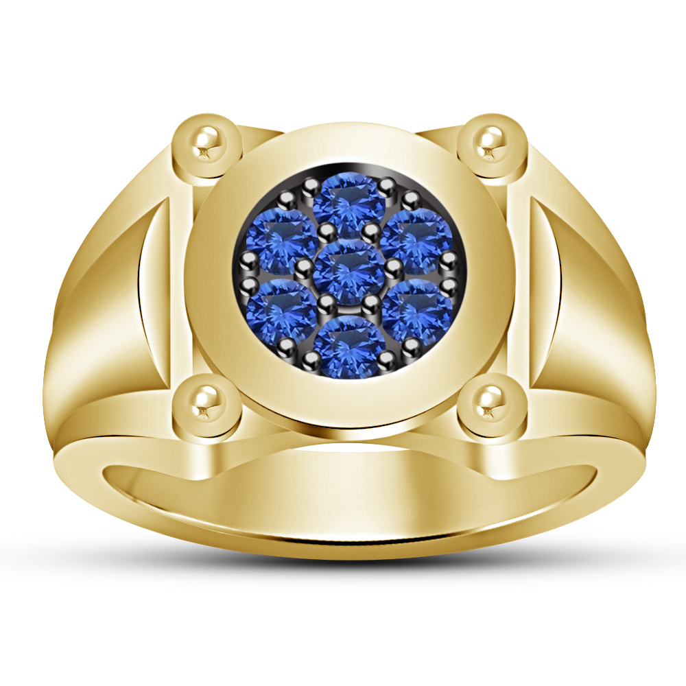 14k Yellow Gold Over 925 Solid Silver Blue Sapphire Mens Wedding Engagement Ring - $91.99